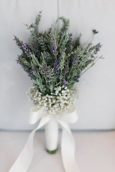 simply elegant lavender and baby breath wedding bouquet