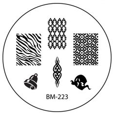 Series 2 Nail Stamping Plate BM-223 - Ghost Christmas Bell + Zebra Print