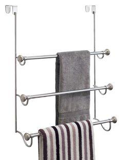 The InterDesign Over the Door Towel Rack gives you plenty of room for hanging towels on unused space over your door. Towel Hangers For Bathroom, Hanging Towels, Bathroom Towels, Bath Towels, Shower Towel, Glass Shower Doors, Bathroom Doors, Bathroom Shelves, Bathroom Ideas
