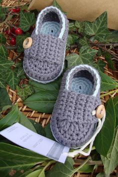 Crocheted Baby Booties Little Loafers Dark Gray And Sky Blue Size 3/6 Months