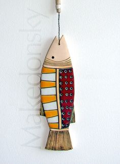 Pesce  piastrella originale a mano arte di MakedonskaCeramicArt