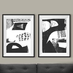 Set of 2 Prints, 2 Black & White Abstract Art, Printable Abstract, instant download, Minimal art, 12x16 Prints, 8x10 print Gallery wall art by DanHobdayArt on Etsy https://www.etsy.com/listing/507845276/set-of-2-prints-2-black-white-abstract