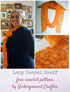 Lacy Tencel Scarf, free crochet pattern by Underground Crafter in Teresa Ruch Designs Tencel 3/2 yarn   A simple, delicate lace pattern and the soft tencel yarn combine to create a transitional weather scarf with excellent drape.