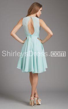 Femme Sleeveless Illusion-neckline Short Chiffon Bridesmaid Dress With Keyhole Back