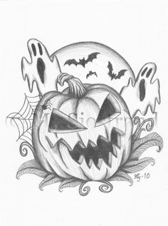 Halloween drawings scary top halloween coloring pages в Scary Halloween Drawings, Scary Drawings, Easy Cartoon Drawings, Halloween Painting, Halloween Art, Cute Drawings, Google Halloween, Halloween Things To Draw, Happy Halloween