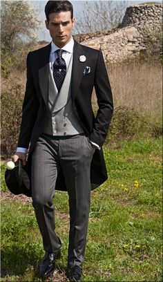 Black pure wool (extra satin) Morning suit combined with striped trouser (half-etiquette).