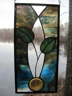 Cottage Style Stained Glass Rondel Leaf Panel by RenaissanceGlass