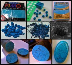 Simulated Turquoise - Polymer clay beads mixed & compressed with black acrylic paint