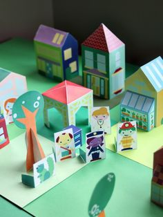 Free Download - Printable Neighborhood people and 14 different houses to cut out and assemble. via SmallforBig.com