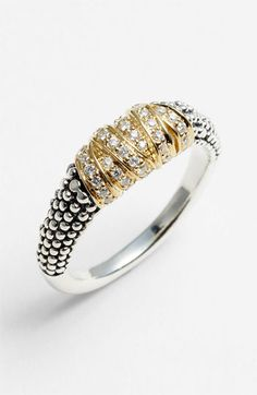 Lagos 'Embrace' Diamond and Caviar Ring. cool mix of textures