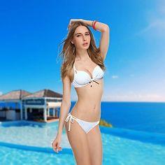 Branco Push-up Underwire acolchoado Biquini mais sexy Swimming Suit Beachwear das VBM Marca Mulheres       – BRL R$ 62,87
