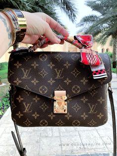 Pochette Louis Vuitton, Louis Vuitton Satchel, Lv Pochette, Vuitton Bag, Louis Vuitton Handbags, Purses And Handbags, Louis Vuitton Bandeau, Scarf On Bag, Purses