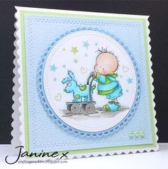 My Sweet Stampin' DT card - the theme was 'Babies' - I used a Lili Of The Valley' stamp and Copics. Created By Janine @ Crafting Crackers Kids Cards, Baby Cards, Team Challenges, Handmade Baby, Handmade Cards, Copics, Lily Of The Valley, Soft Colors, Baby Shower
