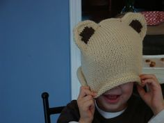 Mr. Furly's Bear Hats: Pattern and Tutorial - this has a knit ears as you go instruction