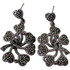 Sterling Silver and Marcasite Heart Petal Cluster Dangle Earrings Pierced Vintage