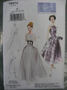 VOGUE VINTAGE 50s DRESS SEWING PATTERN 8874