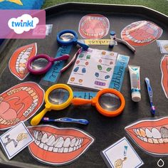Use this resource to teach children about the importance of brushing their teeth. Print, laminate, and ask children to add food and plaque to the teeth using a dry erase marker. Then give them a toothbrush to brush the teeth clean! Eyfs Activities, Activities For 2 Year Olds, Preschool Activities, Preschool Lessons, People Who Help Us, Toddler Themes, Tuff Tray, Teaching Kids, Teaching Resources