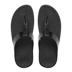 FitFlop Fino™ Soft Metallic Toe-Thong Sandals ($90) ❤ liked on Polyvore featuring shoes, sandals, black, toe post sandals, flat thong sandals, toe thong sandals, fleece-lined shoes and fitflop sandals