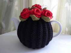 TEA COSY  LARGE  Hand knitted  Wool  Rose by TheCottageKnittery