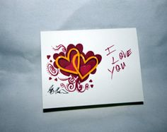 I  Love You Note Card and Art