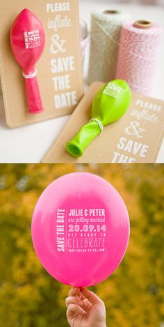 Alternative Wedding Invitations and Save the Dates: inflatable printed balloon