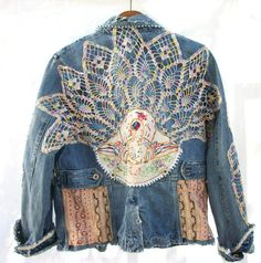 Aged Denim Jacket Vintage Crochet   by AtomicTreasureHunter,  124.00  Sculpture Textile, Denim And Lace 56737368da