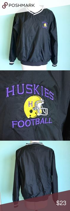 Mens Huskies Football Windbreaker Pullover Size L Up for sale in good preowned condition Mens Huskies Football Windbreaker Pullover Size L. Check out my closet, bundle and give me your offer! Jackets & Coats
