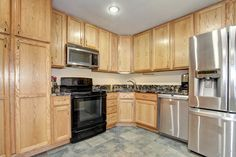 Stainless steel appliances, granite counter tops, great storage. It's a perfect kitchen!