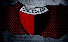 Download wallpapers Colon, 4k, Superliga, logo, grunge, Argentina, soccer, football club, Colon Santa Fe, metal texture, art, Colon FC