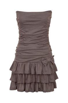 Mini robe bustier volantée en maille
