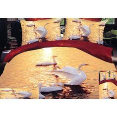 Oranžová posteľná obliečka labute na jazere - domtextilu.