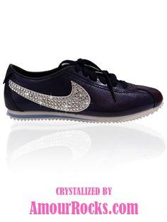 Adult Swarovski Nike Cortez Leather Trainers 1