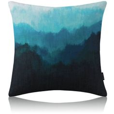 Modern Simple Misty Forest Blue Cotton Linen Pillow Cover Sofa Pil... (€17) ❤ liked on Polyvore featuring home, home decor, throw pillows, cotton/linen pillows, home textiles, throws & pillows, blue home accessories, modern accent pillows, blue toss pillows and blue home decor