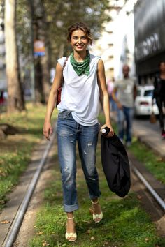 Milan Fashion Week Spring 2014 #StreetStyle  - Shop the Casual Chic trend soon on #Musesyle.