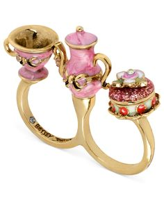 <3 Betsey Johnson Ring, Antique Gold-Tone Pink Teapot and Cup Two-Finger Ring