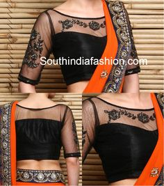 Black Net Embroidered Blouse, net blouse front and back neck, net blouse designs…