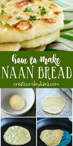 Easy Homemade Naan Bread Recipe - Creations by Kara Naan Bread Recipe Easy, Make Naan Bread, Homemade Naan Bread, Recipes With Naan Bread, Bread Machine Recipes, Indian Naan Bread Recipe, How To Make Naan, Bread Making, Nana Bread