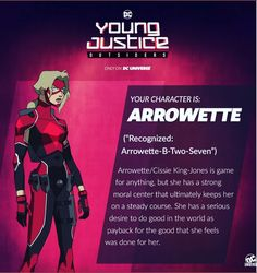 young justice outsiders arrowette cissie king-jones new character – Dc universe Young Justice Characters, Bruce And Selina, Book Costumes, Kings Game, Dc Comics Superheroes, Superhero Design, Comics Universe, Teen Titans, Book Design