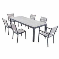 SALON DE JARDIN  Ensemble table de jardin 220 cm + 2 fauteuils + 4