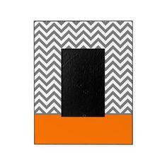 Gray Chevron Pattern Orange Stripe Picture Frame on CafePress.com