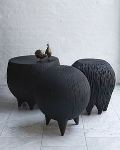 Stunning burnt, stump stools and tables made by Kieran Kinsella from locally sourced and salvaged hardwood tree trunks.