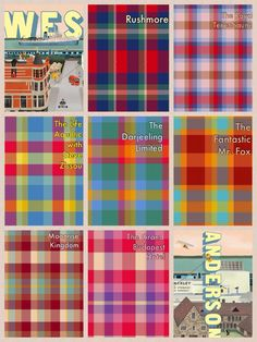 Wes anderson plaids. Based on color schemes of Rushmore, the Royal Tenenbaums, the Life Aquatic with Steve Zissou, The Darjeeling Limited, The Fantastic Fox, Moonrise Kingdom, and The Grand Budapest Hotel.