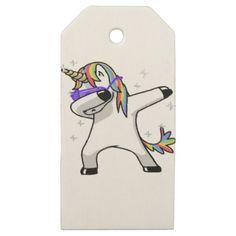 #Dabbing Unicorn Wooden Gift Tags - #funny #unicorn #unicorns #horse #horses #magical #colourful #fantasy