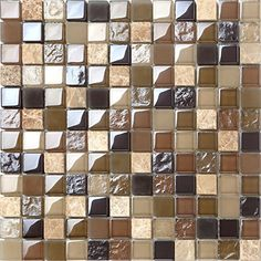 30x30cm Brown Coffee Frosted Hammered Plain Glass + Stone Mix Mosaic Tiles Sheet (MT0050)