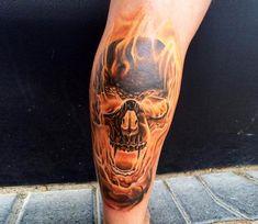 Fire Skull tattoo by Ben Kaye
