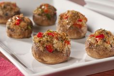 "Stuffed mushrooms are not only a popular side dish, they're also often enjoyed as party appetizers. Our rich-tasting stuffing will surprise anyone with diabetes, because ""yes you can"" eat these Cheesy Stuffed Mushrooms, because we made them lighter a Diabetic Menu, Diabetic Snacks, Healthy Eating Recipes, Diabetic Recipes, Clean Eating Snacks, Diabetic Cake, Pre Diabetic, Diet Recipes, Recipies"