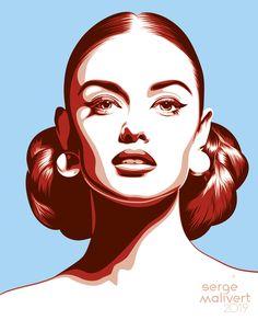 pop art portraits Chignon by sergemalivert on DeviantArt Portraits Pop Art, Portrait Art, Art Sketches, Art Drawings, Pop Art Images, Vector Portrait, Portrait Illustration, Art Sketchbook, Cartoon Art