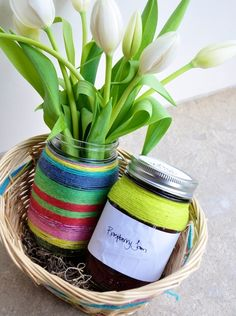May Day Basket - Jam and flowers in jars. Glass Jars, Mason Jars, May Day Baskets, Flowers In Jars, Diy Gift Baskets, Crafts For Kids, Diy Crafts, May Days, Jar Gifts