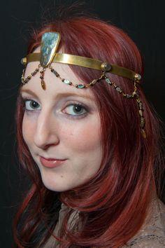 Shell Moonstone Brass Headpiece. by SpiritoftheGoddess on Etsy, $185.00