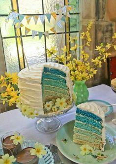 Pretty gender reveal cake
